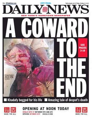 Gaddafi dead: New York Daily News, US
