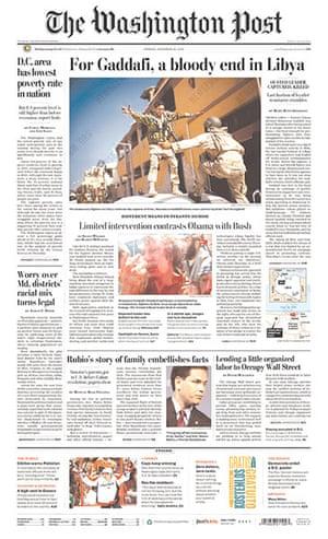 Gaddafi dead: Washington Post, US