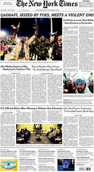 Gaddafi dead: New York Times, US