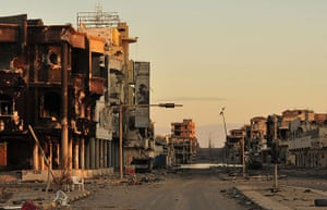 Libya celebrates: a street near where Gaddafi was hiding in Sirte