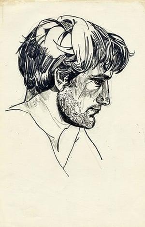 Sylvia Plath sketches: Sketch of Ted Hughes