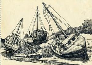 Sylvia Plath sketches: Boat, Rock Harbour, Cape Cod