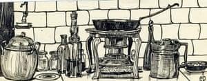 Sylvia Plath sketches: Spanish Kitchen