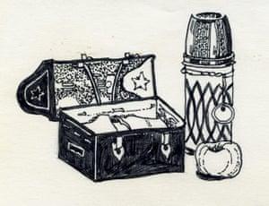 Sylvia Plath sketches: Casket, bottle, apple