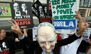 Protesters outside News Corp's shareholder meeting