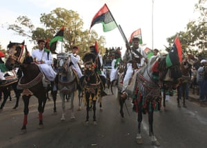 Libya after Gaddafi: Libyan fighters from Sirte are welcomed at Al Guwarsha gate, Benghazi