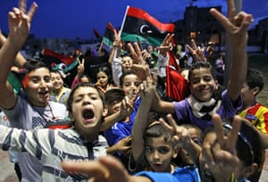 Libya after Gaddafi: Libyan children celebrate in Souk El Juma district in Tripoli