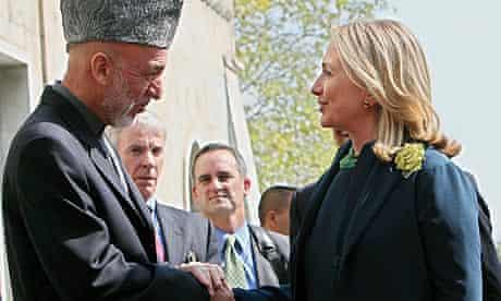 Hamid Karzai with Hillary Clinton in Kabul