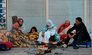 Turkish people on the street after the earthquake