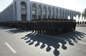 24 hours in pictures: Kyrgyz soldiers stand in formation during a parade in Bishkek