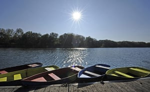 24 hours in pictures: Rowing boats float on a lake in Gelsenkirchen, Germany