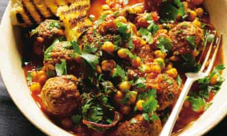 Chickpea stew with lamb meatballs