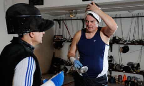 British men's foil team coach Ziemek Wojciechowski and Guardian's Stephen Moss, right.