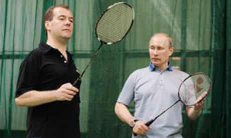 Russian President Dmitry Medvedev, left, on the badminton court with Vladimir Putin