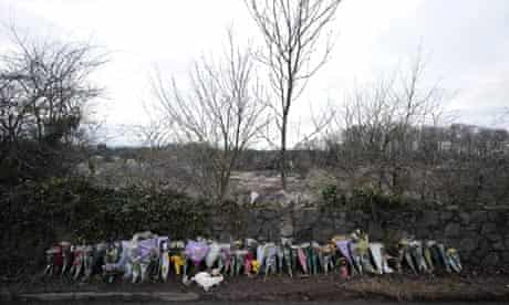 Flowers at the side of the road where the body of Joanna Yeates was found on Christmas Day