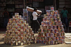 Diwali festival of lights: Packets of firecrackers are displayed for sale in Jammu, India