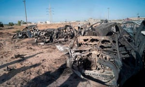 The wreckage of vehicles from a convoy bombed by Nato in Sirte.