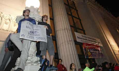 Occupy Oakland protesters in front of the Oakland City Hall