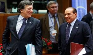 José Manuel Barroso and Silvio Berlusconi