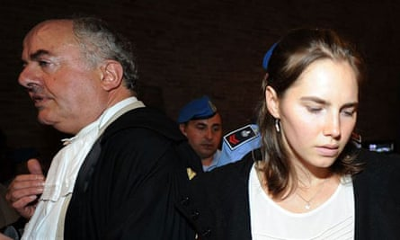 Giuliano Mignini and Amanda Knox at her appeal hearing over the murder of Meredith Kercher