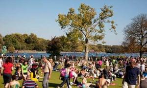 Sunbathers in Hyde Park
