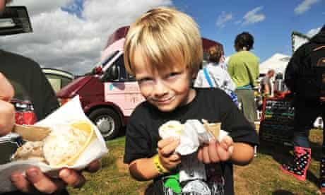 A young boy enjoys Claire Kelsey's ice cream