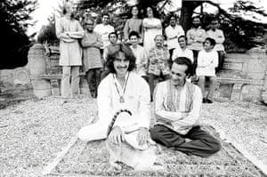 George Harrison book: George Harrison, Billy the cat, Ravi Shankar, 1974