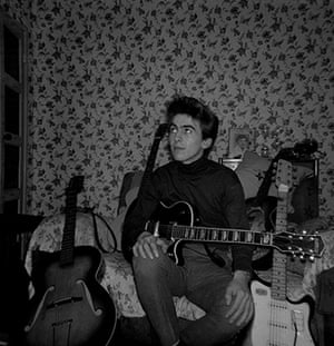George Harrison book: George Harrison at home in Upton Green with guitars