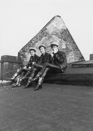 George Harrison Book: Paul, John and George on roof of Top Ten Club, Hamburg, 1961