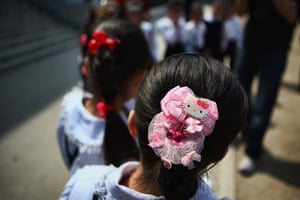 Hello Kitty: A North Korean child wears the hairpin of Hello Kitty in a primary school