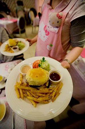 Hello Kitty: A Kitty burger at a Hello Kitty theme restaurant in Taipei, Taiwan