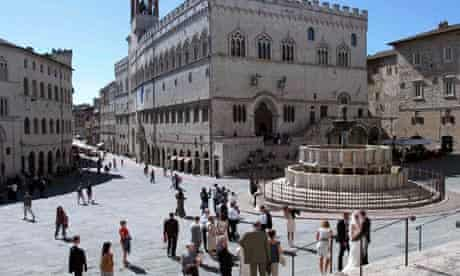 A general view of Priori Palace and Maggiore fountain in downtown Perugia