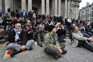 Occupy London protests: Protesters attend a meeting outside St Paul's Cathedral