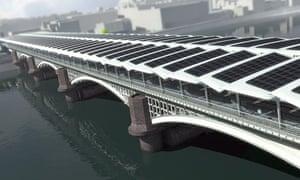 Blackfriars bridge with solar panels