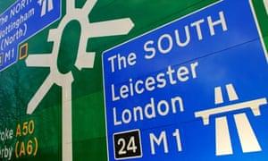 Motorway sign directions.