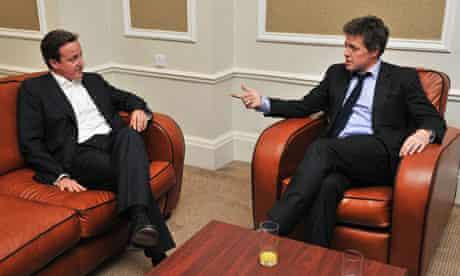 David Cameron and Hugh Grant at Tory conference 2011