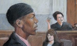 Umar Farouk Abdulmutallab in a courtroom drawing