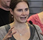 Amanda Knox addresses a news conference at Seattle airport after arriving home from Italy