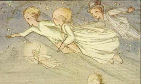 Illustration of Peter Pan flying to Neverland