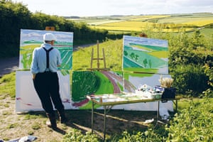 """David Hockney book: David Hockney painting """"The Road to Thwing, Late Spring"""" May 2006"""