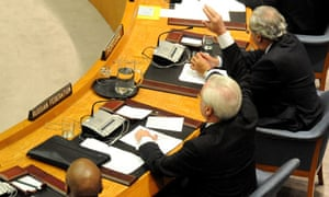 Russia's representative votes against a draft resolution on Syria