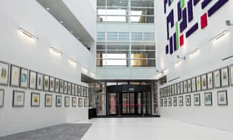 Atrium of Hope Building with artwork, Salford Royal