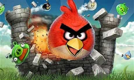 A scene from the video game Angry Birds