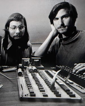 steve jobs dies: Circa 1976: Steve Jobs and Steve Wozniak with their original Apple I