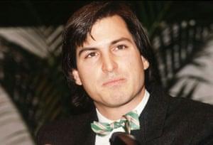 steve jobs dies: 1984: Steve Jobs in a bow tie as he unveiled the Apple Macintosh