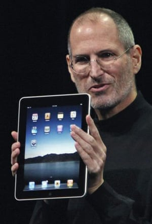 steve jobs dies: 27 January 2010: Jobs holds the Apple iPad at its San Francisco launch