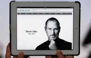 steve jobs dies: October 5 2011: An iPad showing Apple's homepage tribute to Steve Jobs