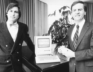 steve jobs dies: 16 January 1984: Jobs with John Sculley, who eventually ousted Jobs