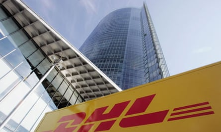 A DHL truck outside the headquarters of Deutsche Post AG.