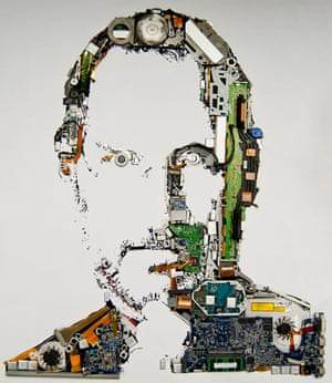 Steve Jobs image made of MacBook Pro parts
